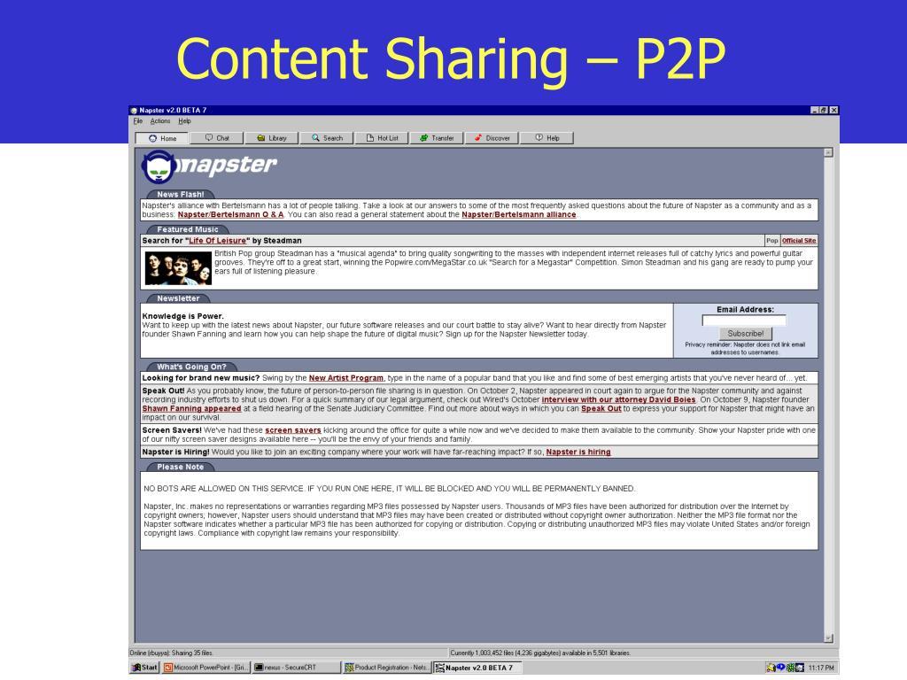 Content Sharing – P2P