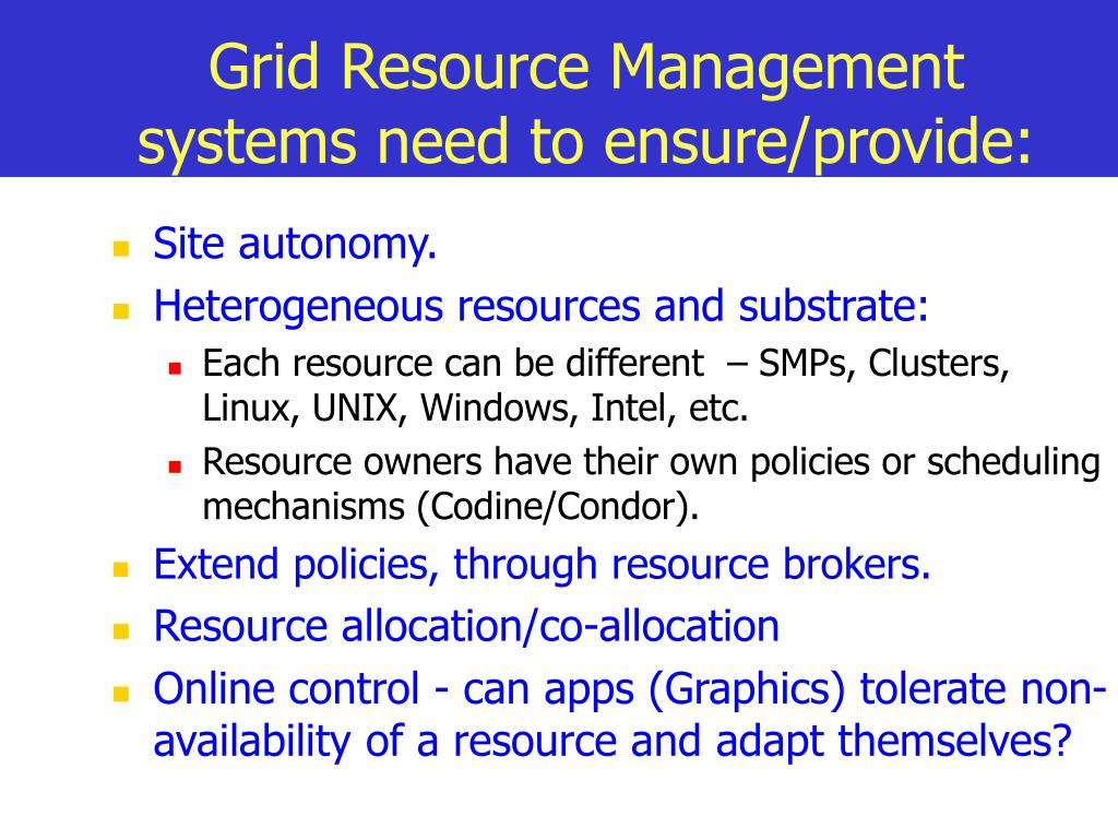 Grid Resource Management systems need to ensure/provide: