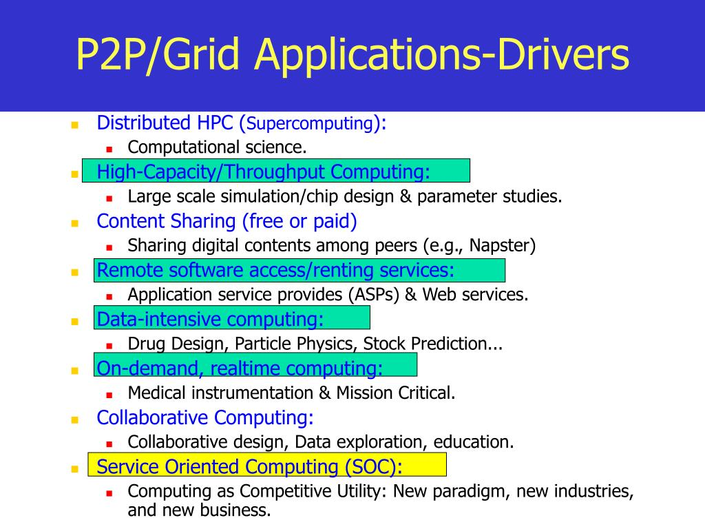 P2P/Grid Applications-Drivers