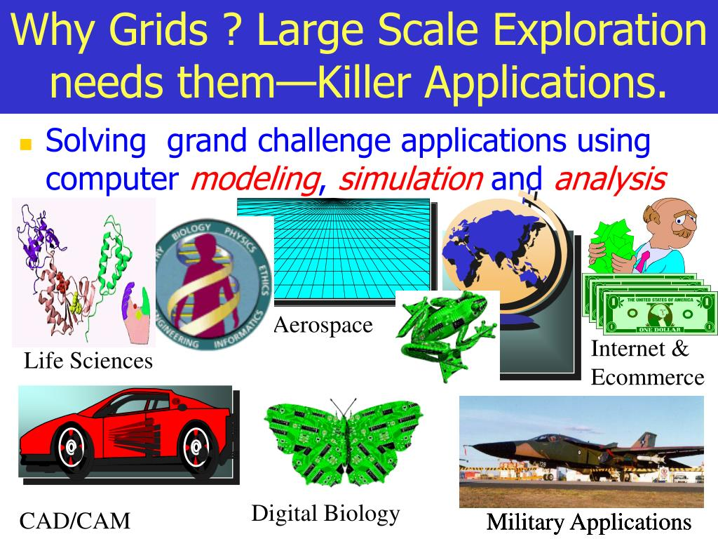 Why Grids ? Large Scale Exploration needs them—Killer Applications.