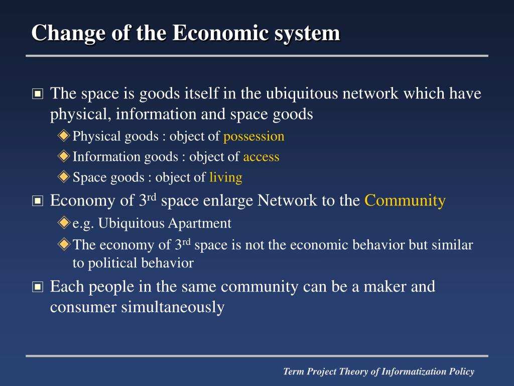 Change of the Economic system