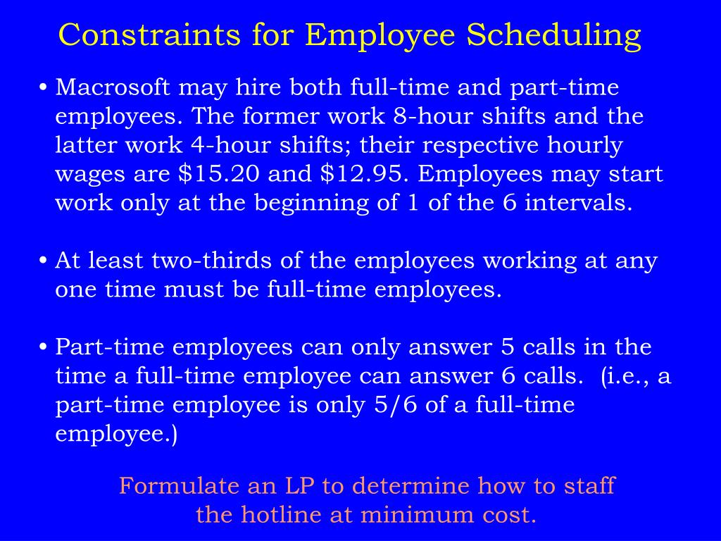 Constraints for Employee Scheduling