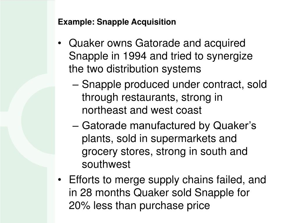 the acquisition of snapple by quaker Quaker oats may have breached duty to shareholders during snapple  acquisition description, court of appeals reinstated shareholder suit against  quaker.