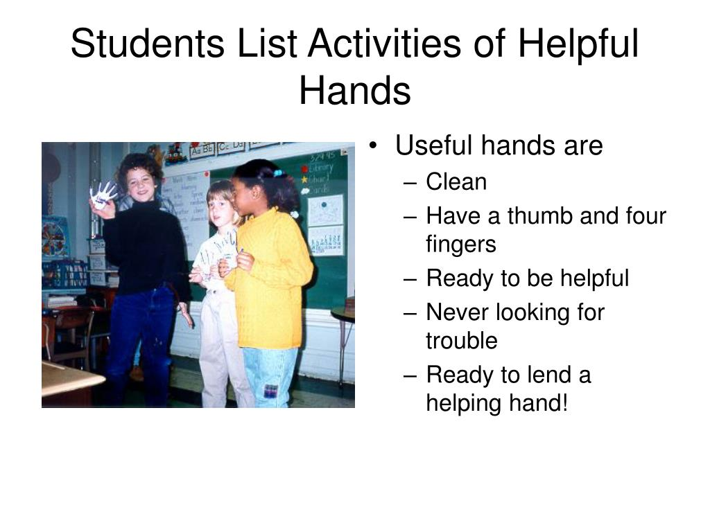 Students List Activities of Helpful  Hands