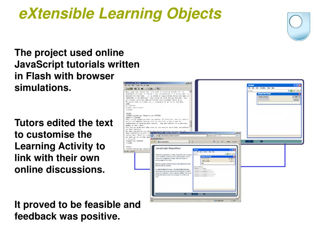 The project used online JavaScript tutorials written in Flash with browser simulations.