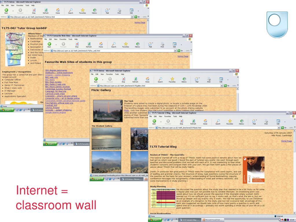 Internet = classroom wall
