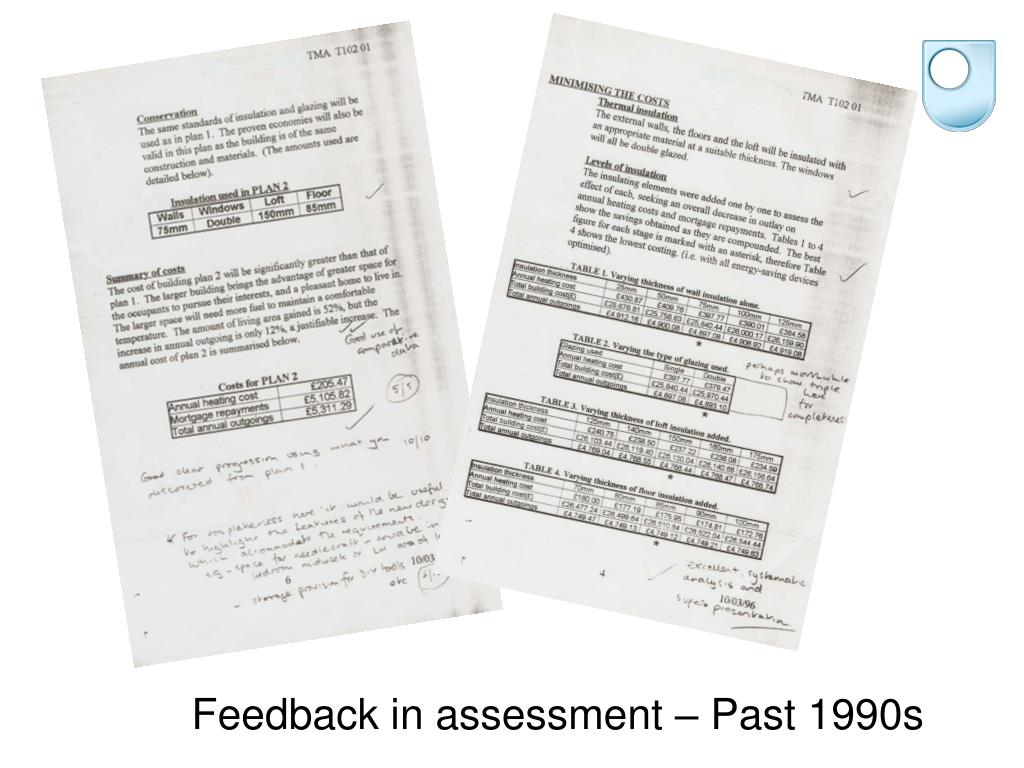 Feedback in assessment – Past 1990s