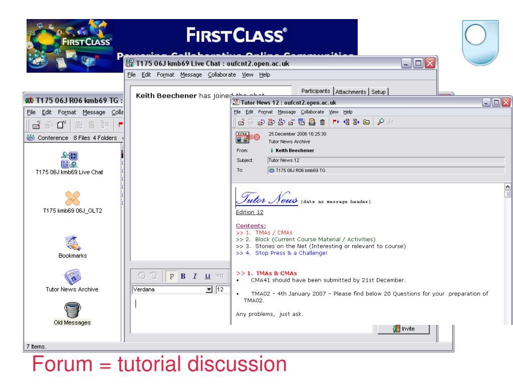 Forum = tutorial discussion