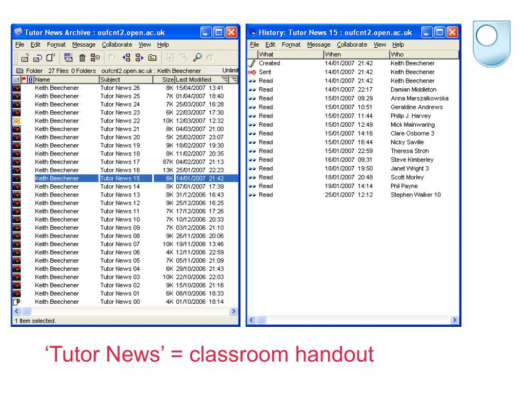 'Tutor News' = classroom handout
