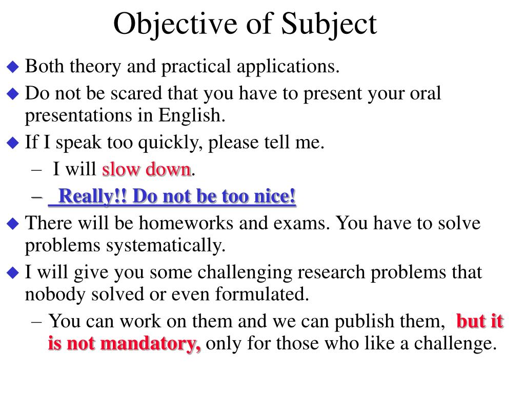 Objective of Subject