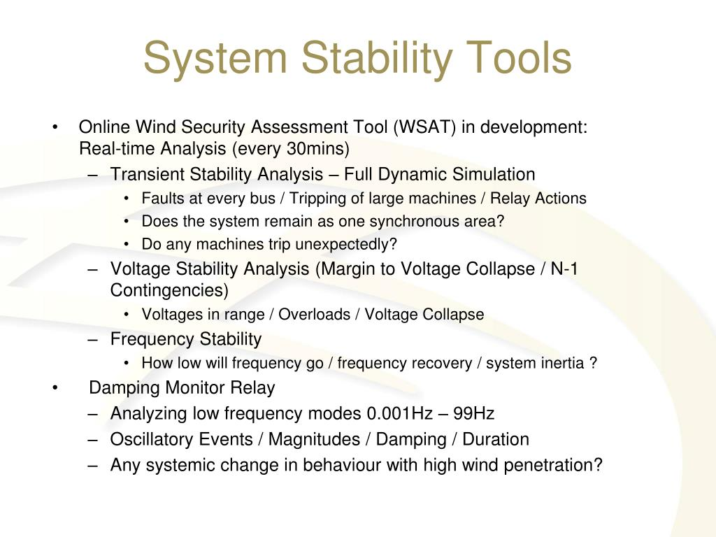 System Stability Tools