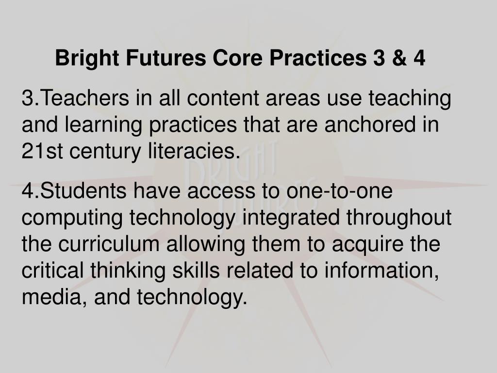 Bright Futures Core Practices 3 & 4