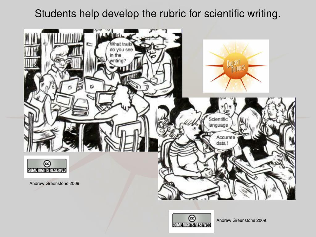 Students help develop the rubric for scientific writing.