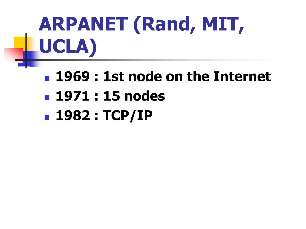 ARPANET (Rand, MIT, UCLA)
