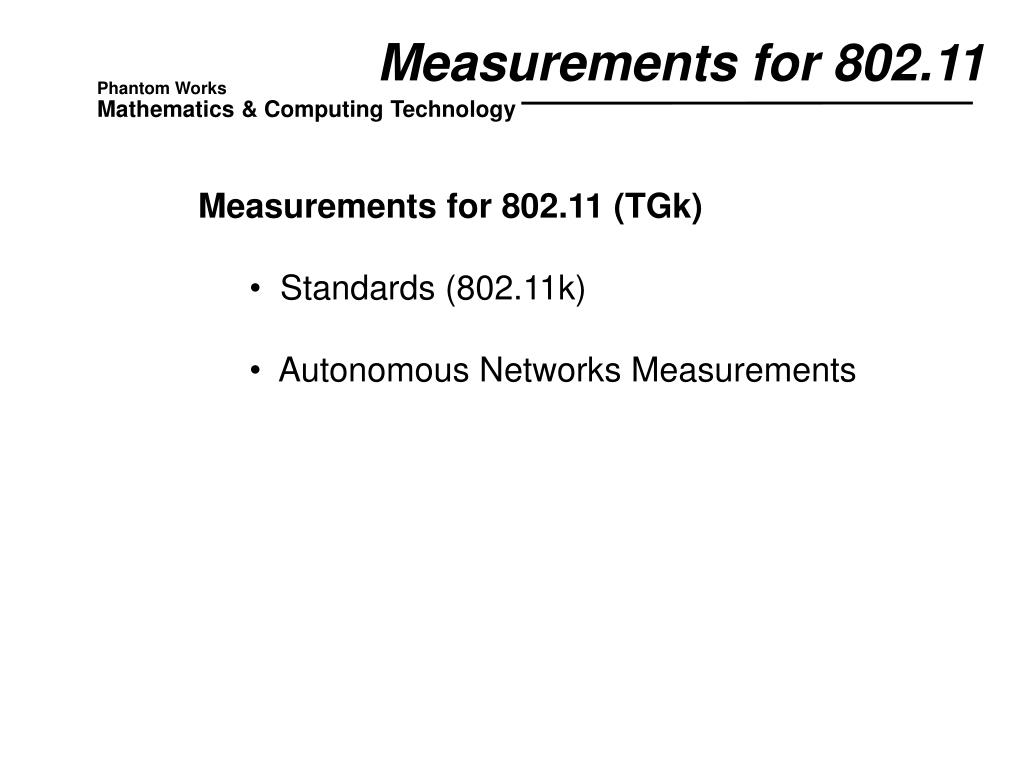 Measurements for 802.11