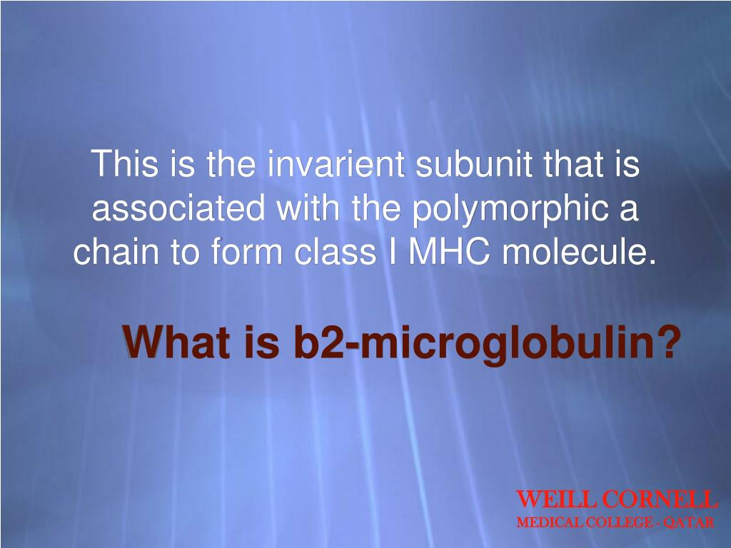 This is the invarient subunit that is associated with the polymorphic a chain to form class I MHC molecule.