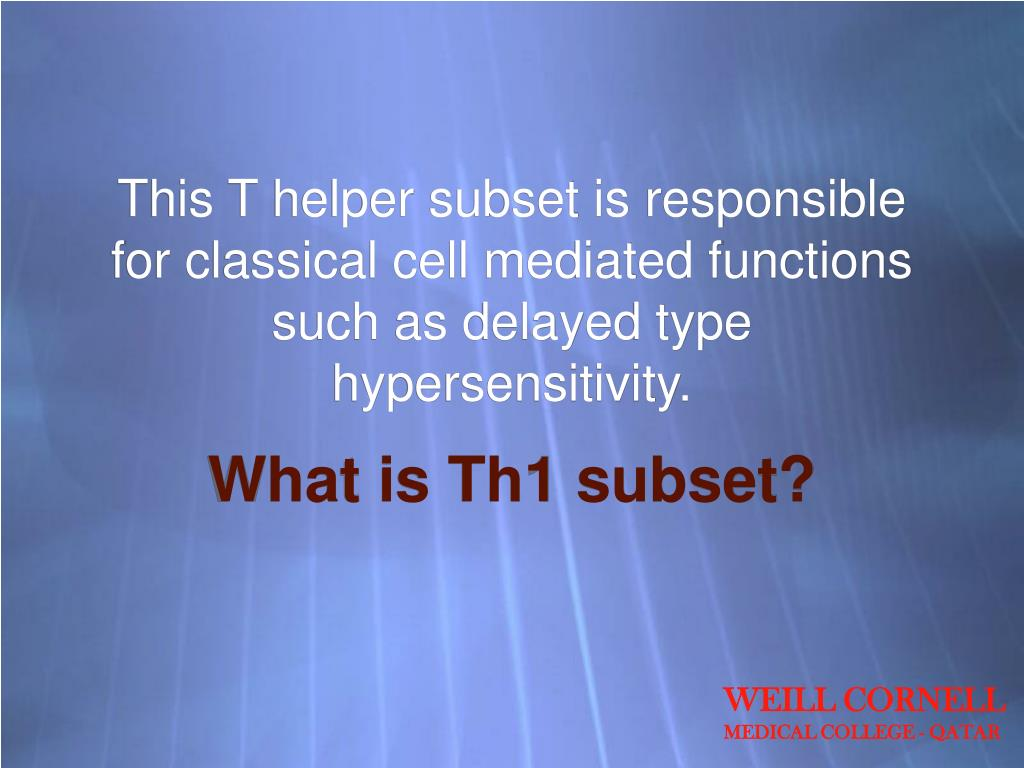 This T helper subset is responsible for classical cell mediated functions such as delayed type hypersensitivity.