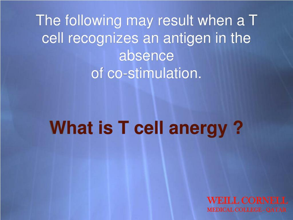 The following may result when a T cell recognizes an antigen in the absence