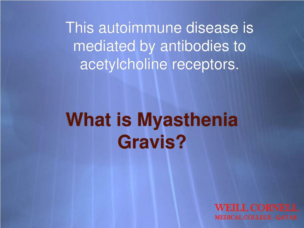 This autoimmune disease is mediated by antibodies to acetylcholine receptors.