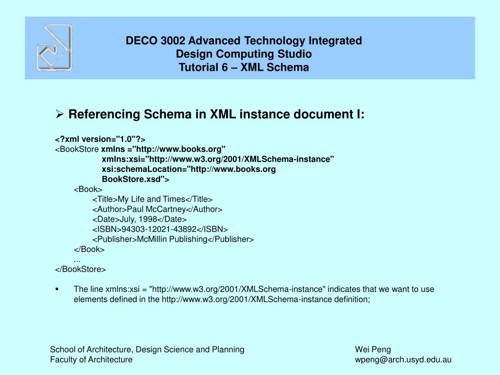 Referencing Schema in XML instance document I: