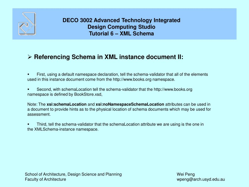 Referencing Schema in XML instance document II: