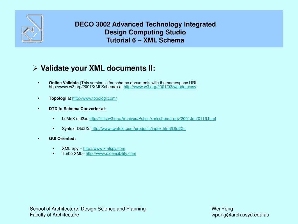Validate your XML documents II: