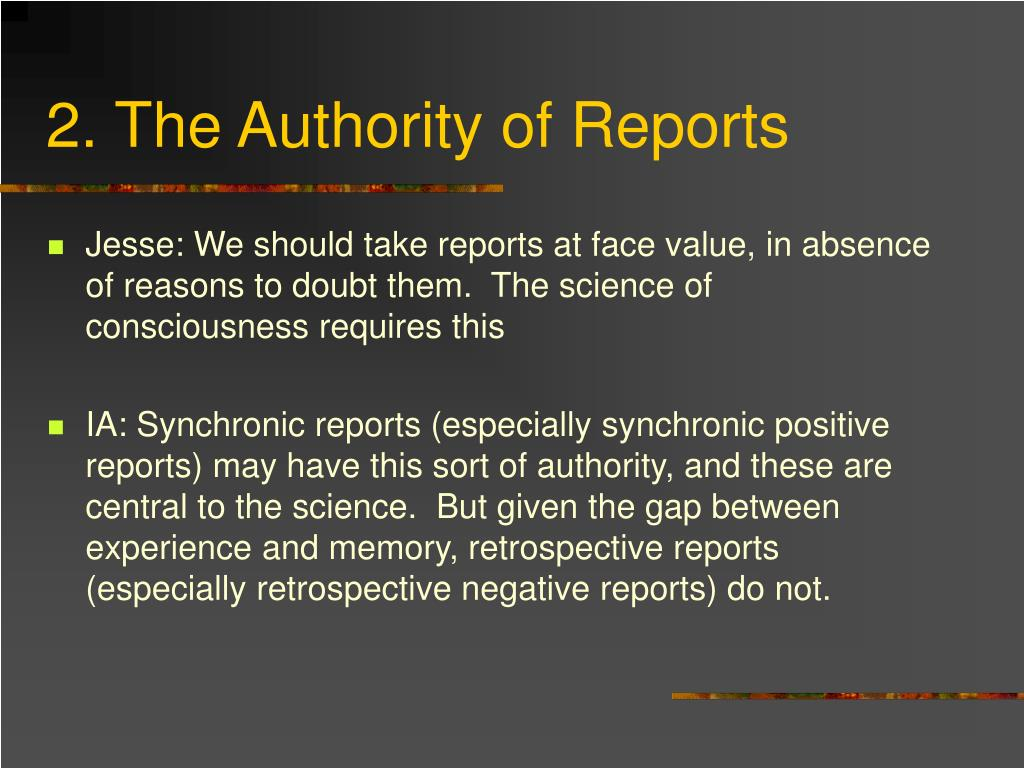 2. The Authority of Reports