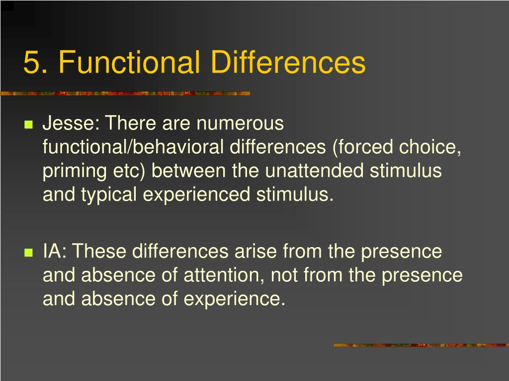 5. Functional Differences