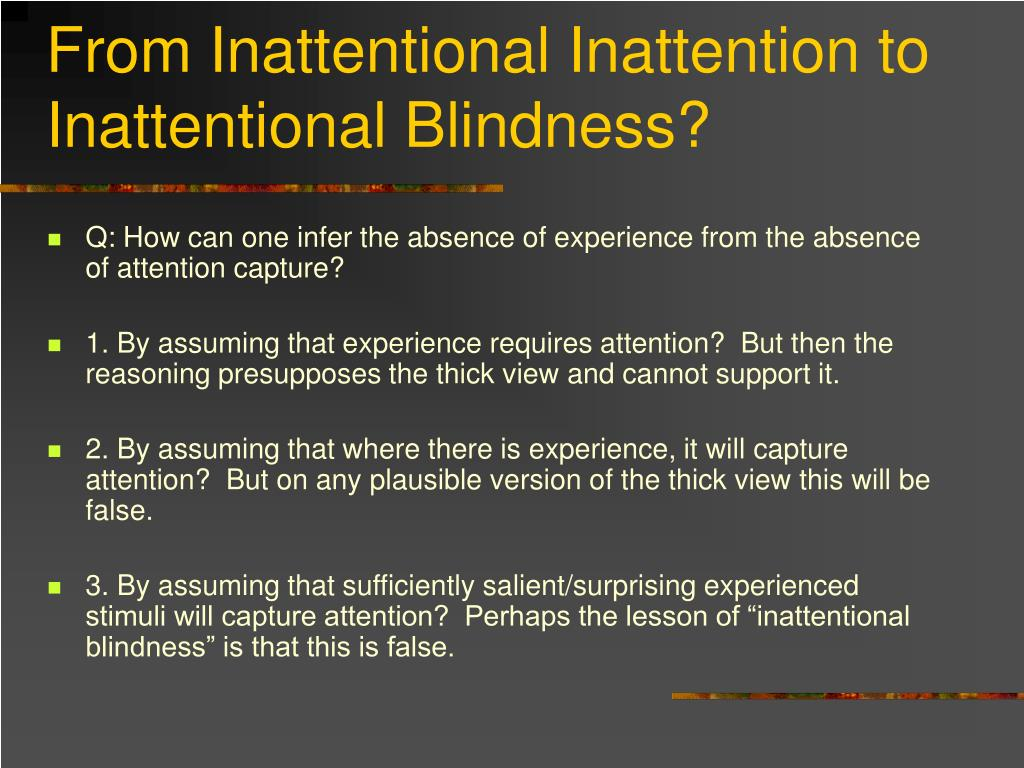 From Inattentional Inattention to Inattentional Blindness?