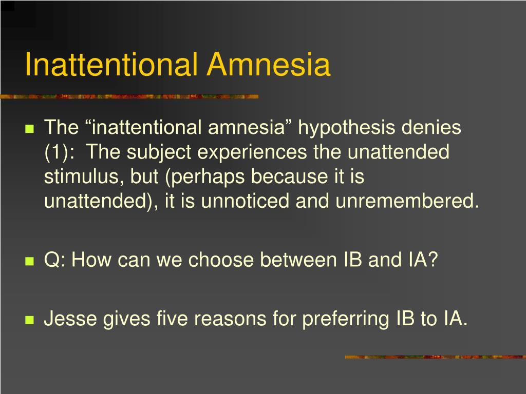 Inattentional Amnesia