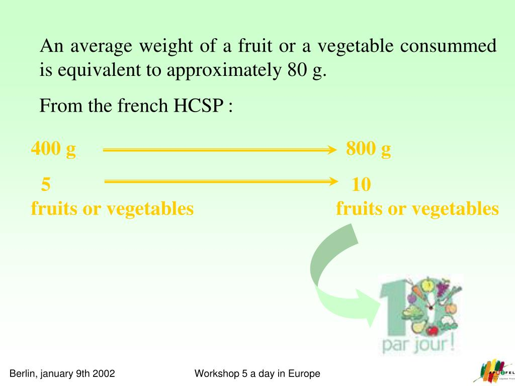 An average weight of a fruit or a vegetable consummed is equivalent to approximately 80 g.