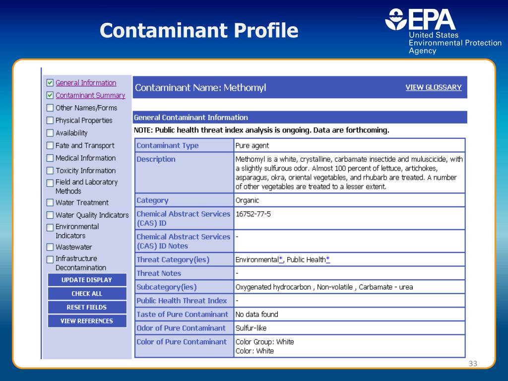Contaminant Profile
