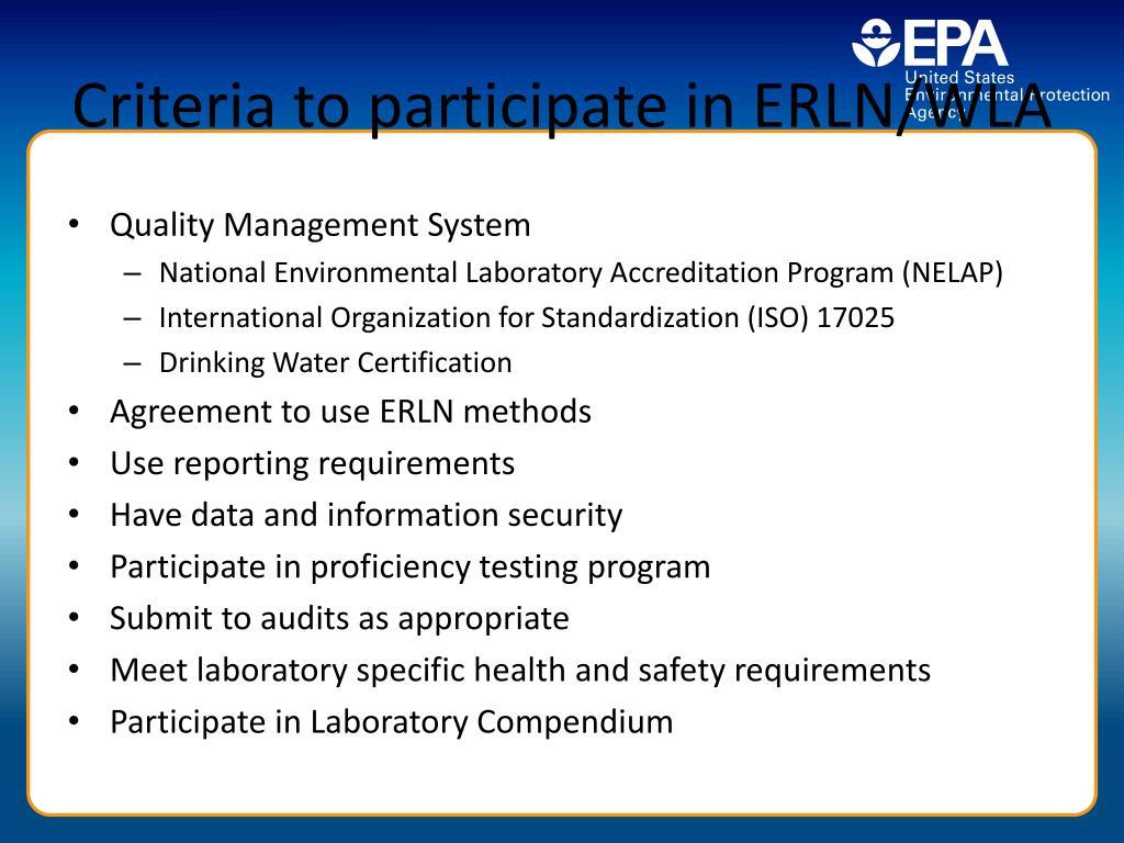 Criteria to participate in ERLN/WLA