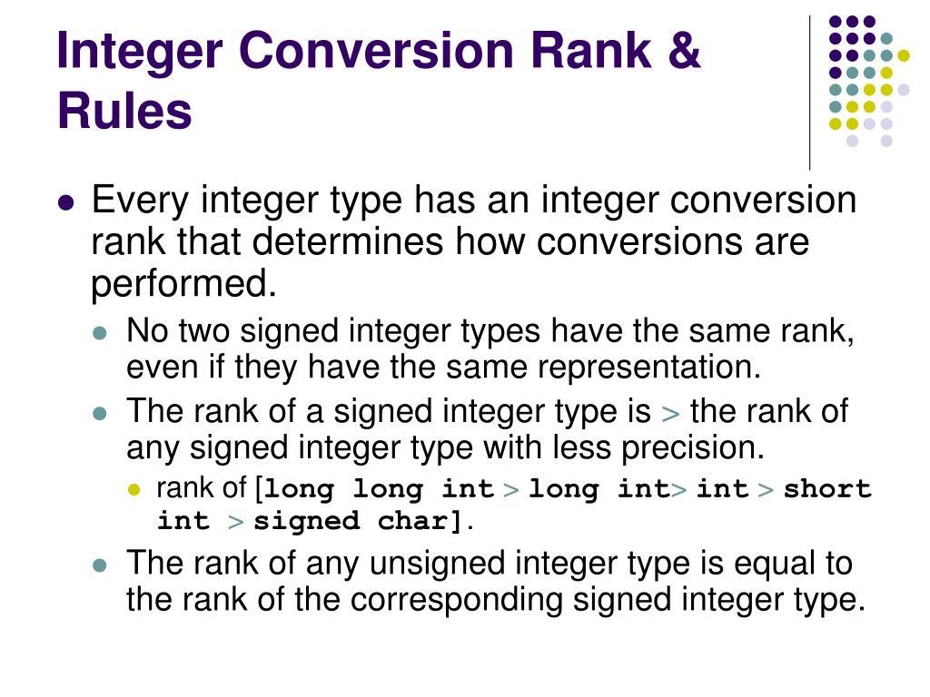 Integer Conversion Rank & Rules