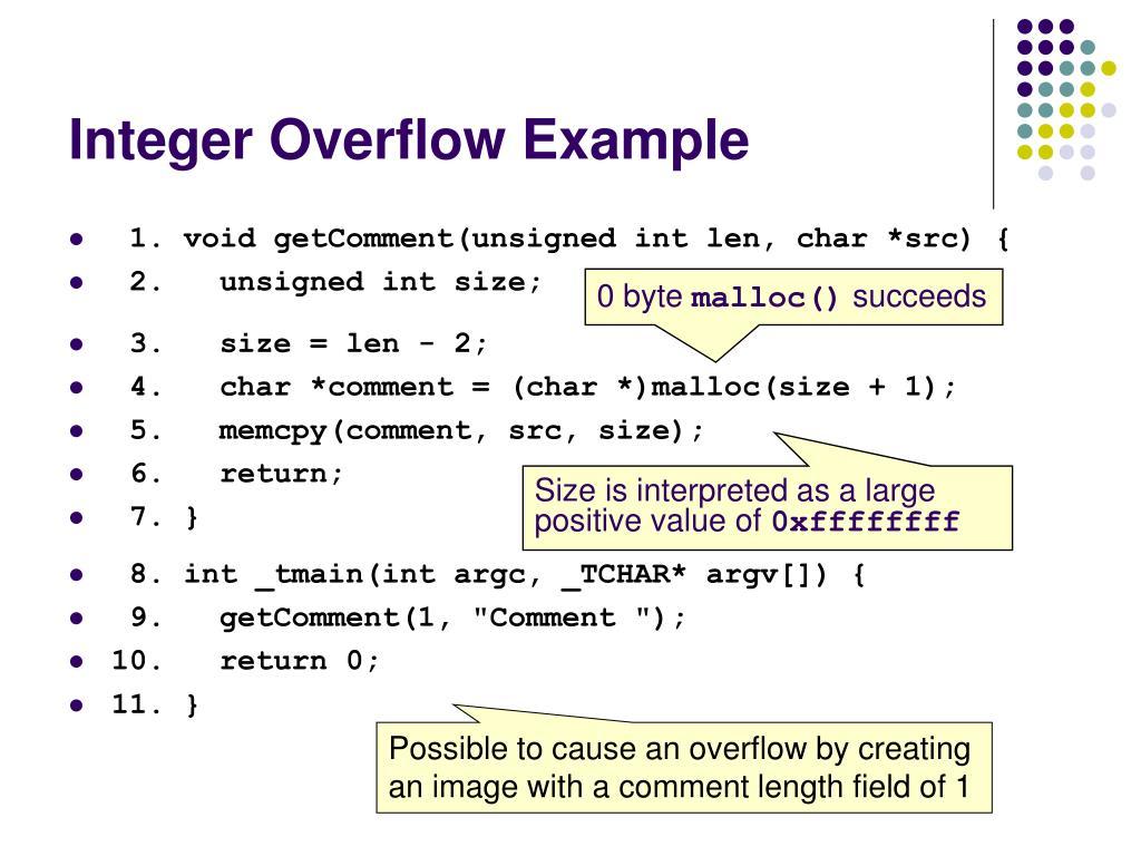 Integer Overflow Example