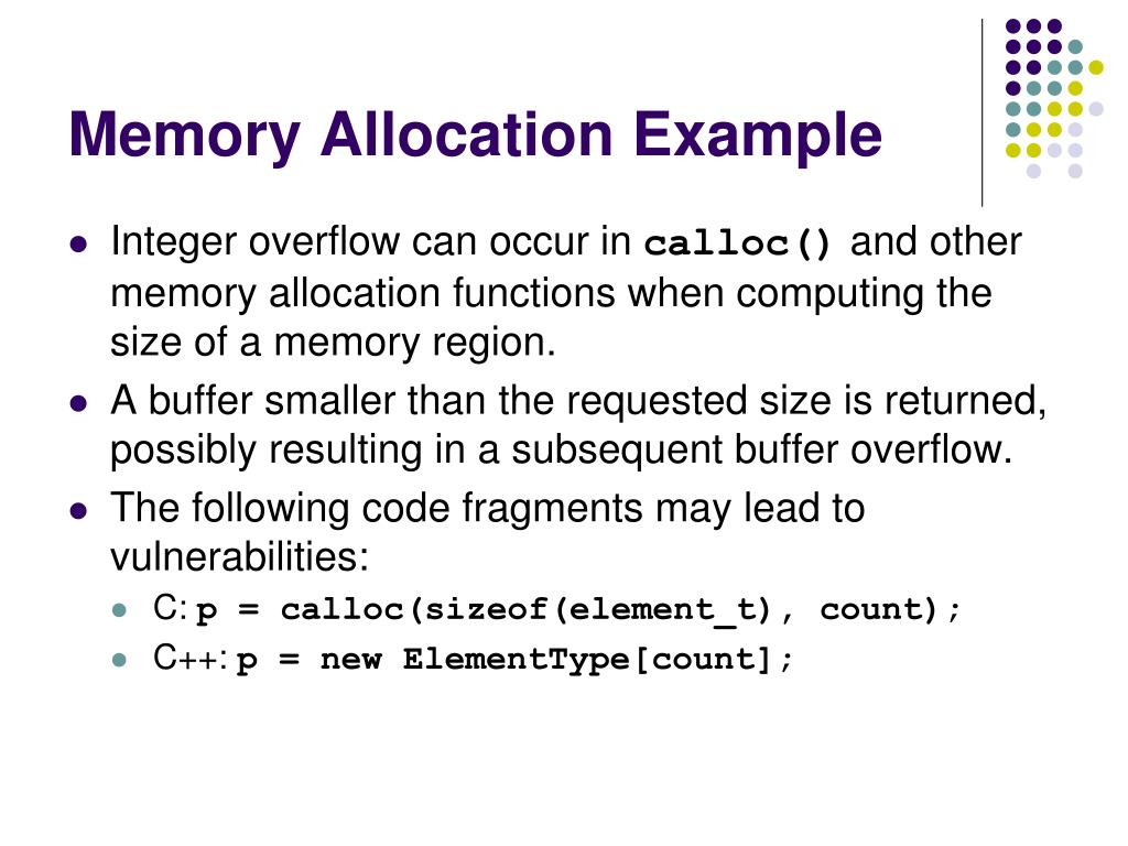 Memory Allocation Example