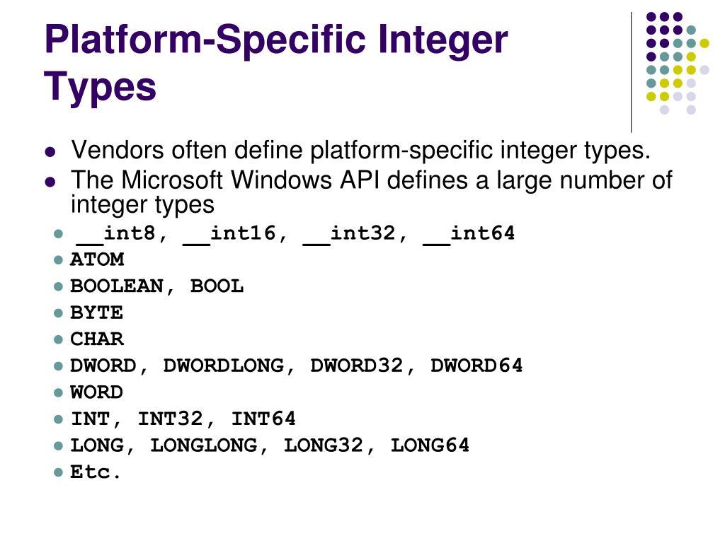 Platform-Specific Integer Types