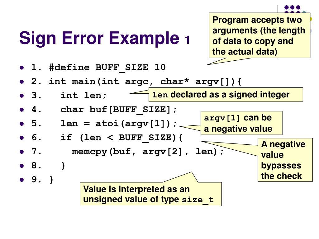 Sign Error Example
