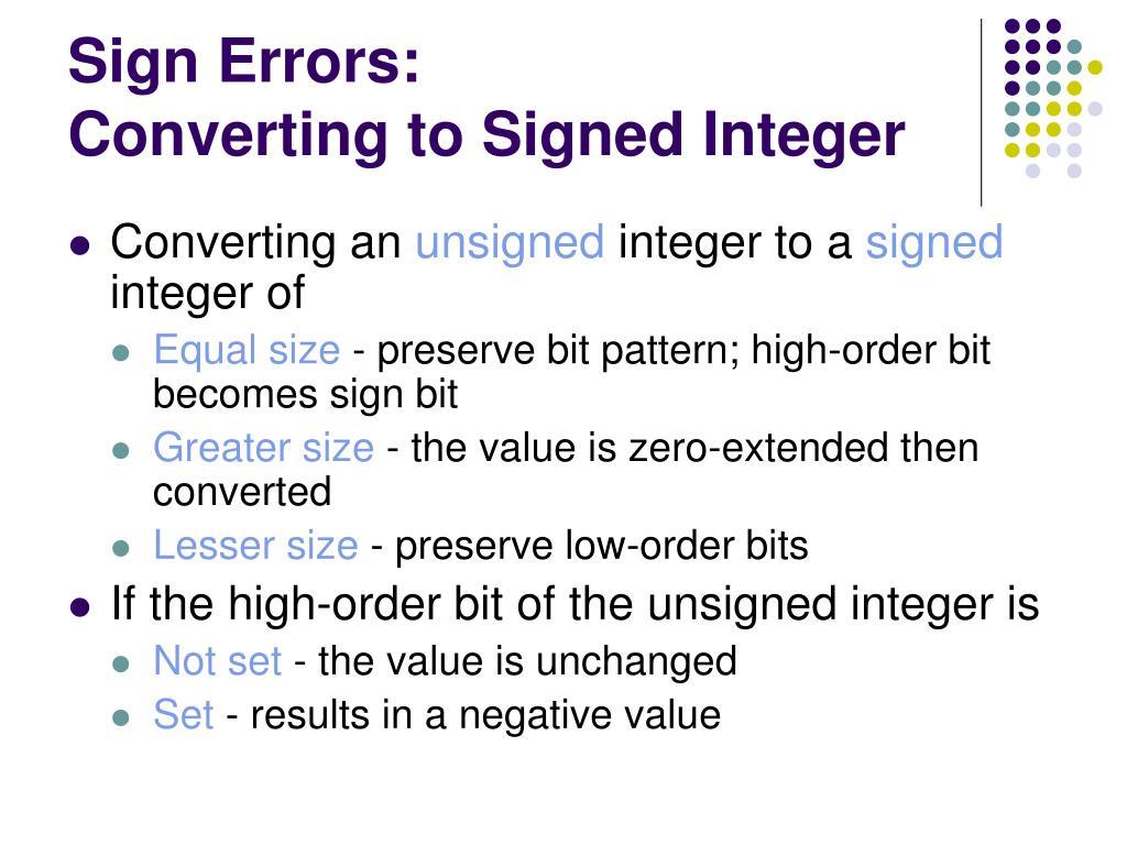 Sign Errors: