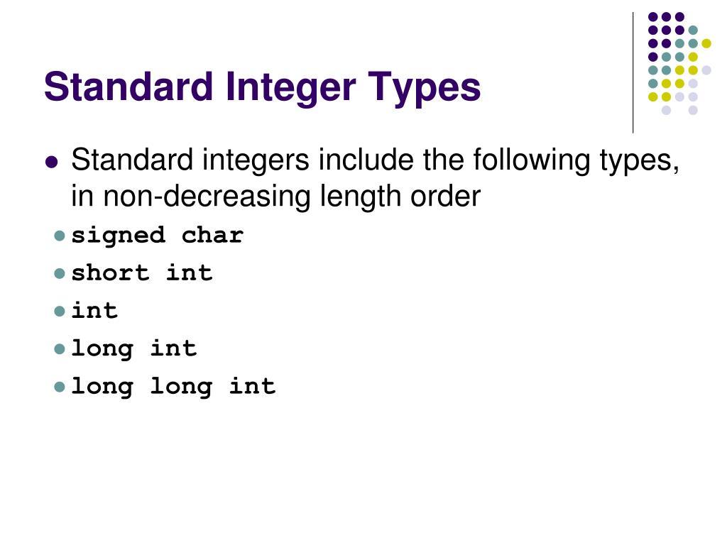 Standard Integer Types