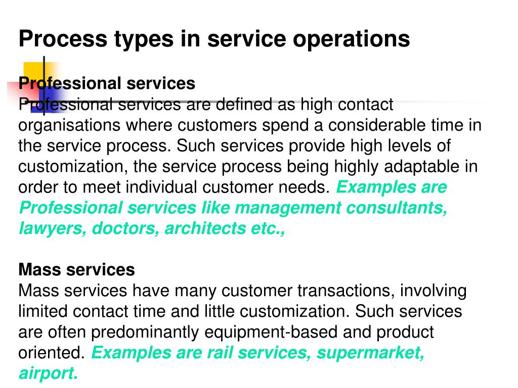 Process types in service operations