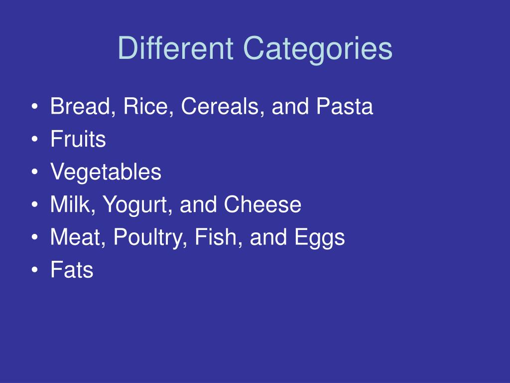 Different Categories