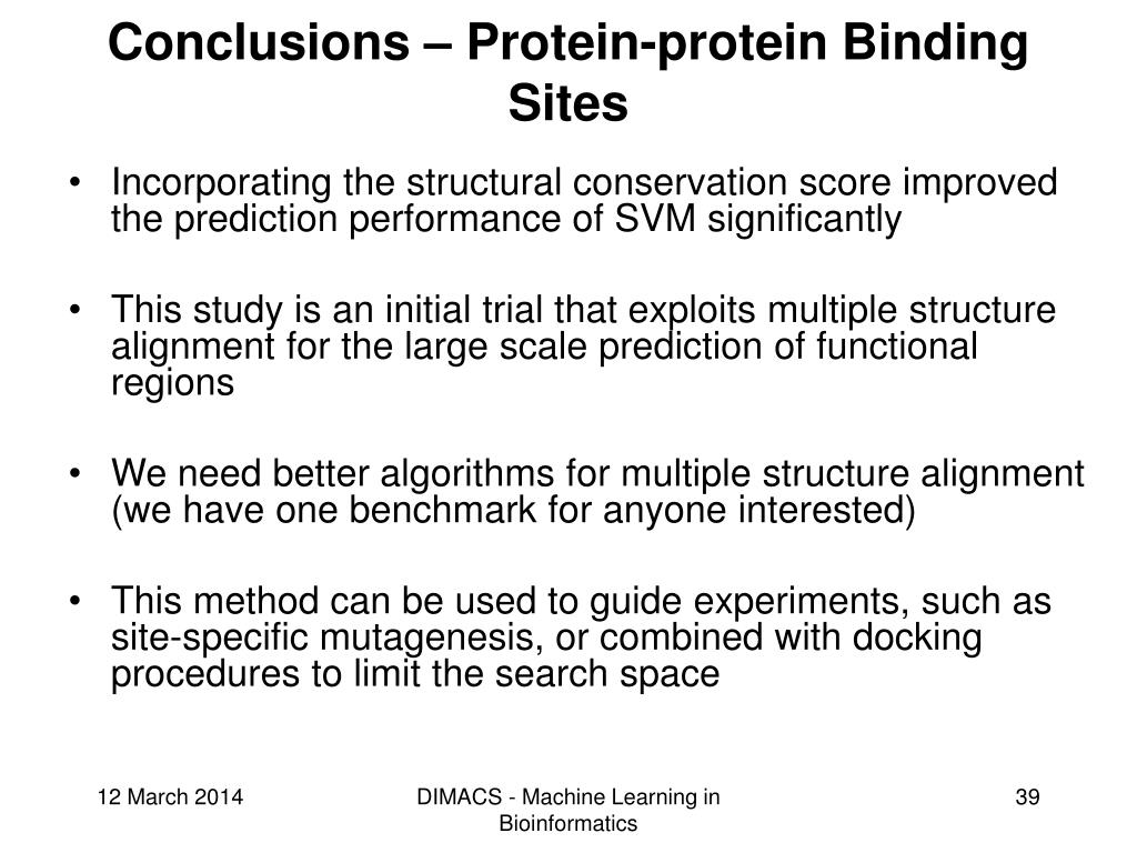 Conclusions – Protein-protein Binding Sites