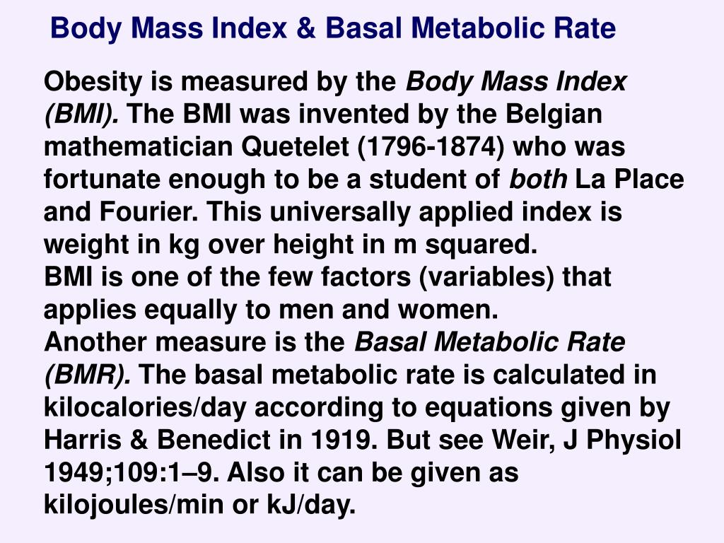 Body Mass Index & Basal Metabolic Rate
