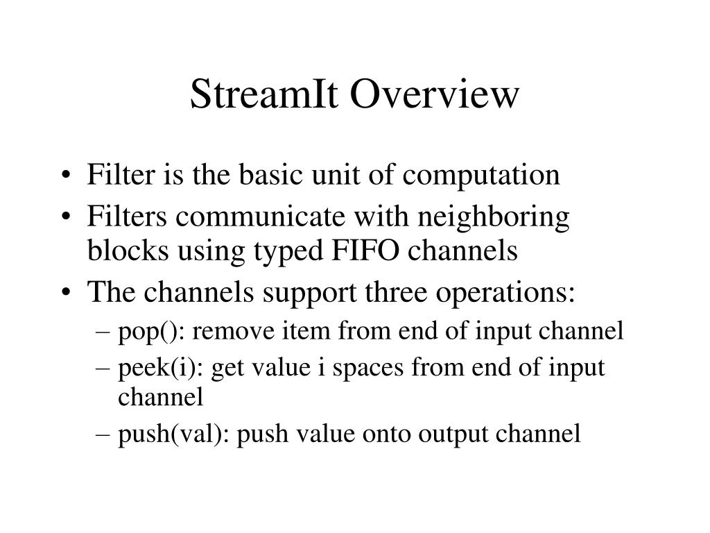 StreamIt Overview