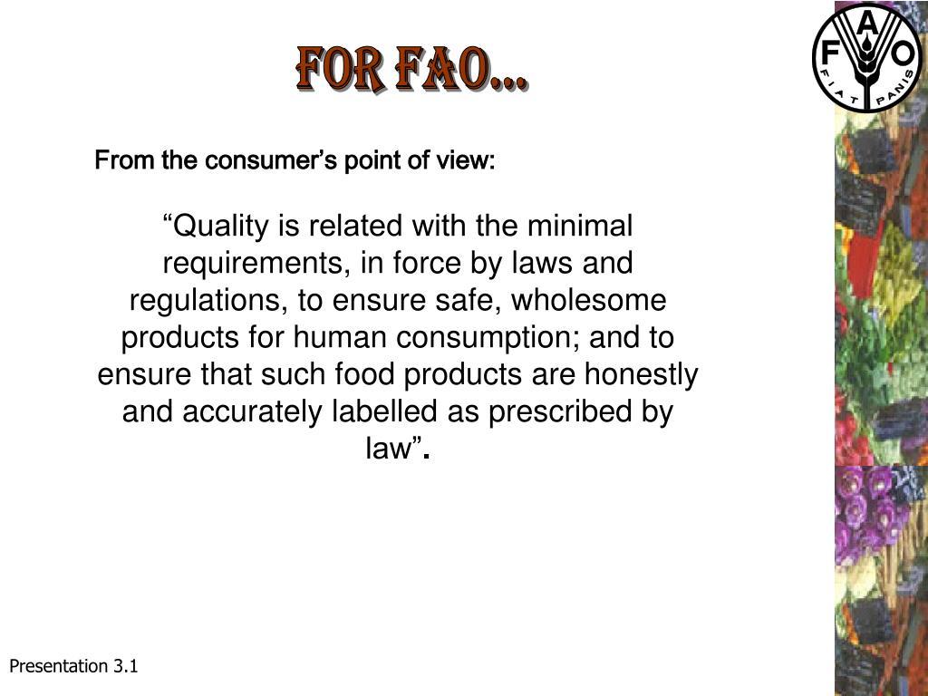 FOR FAO...