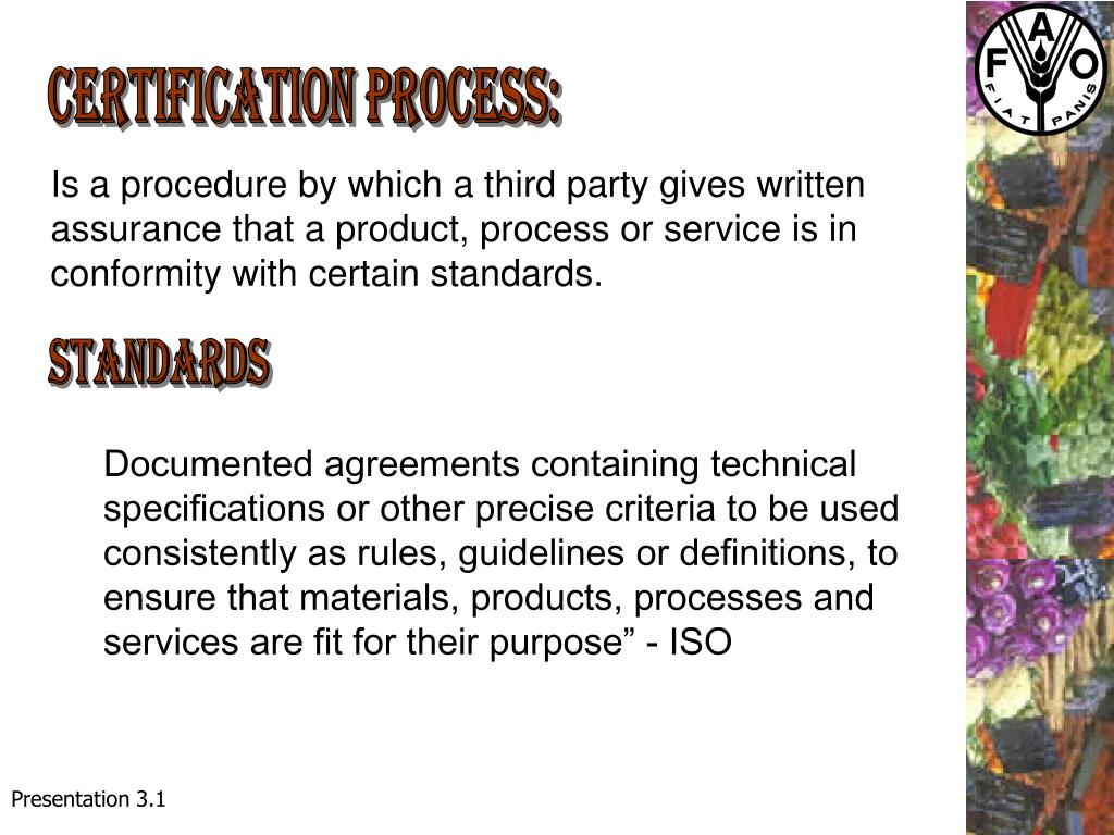 Certification process: