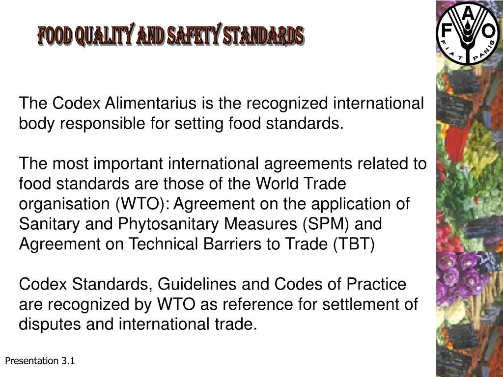 FOOD QUALITY AND SAFETY STANDARDS