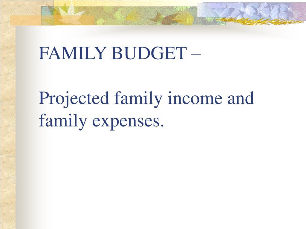 FAMILY BUDGET –