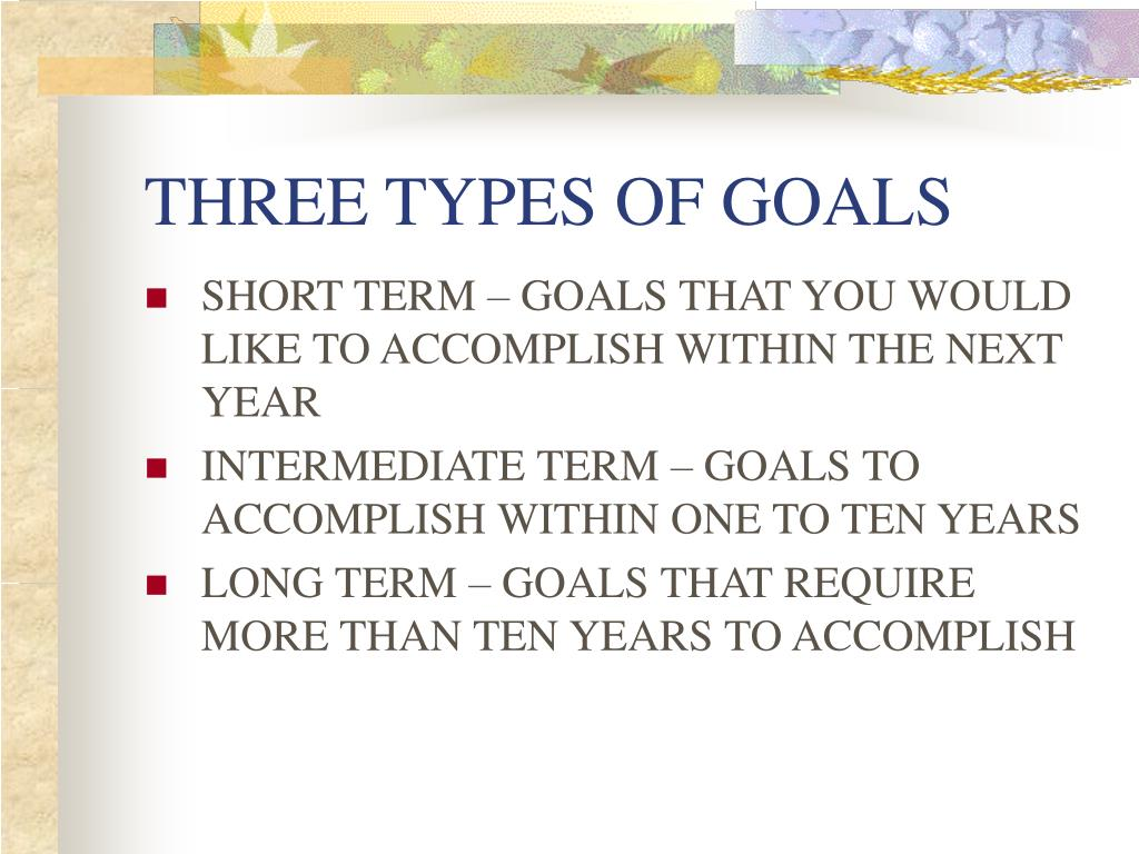 THREE TYPES OF GOALS